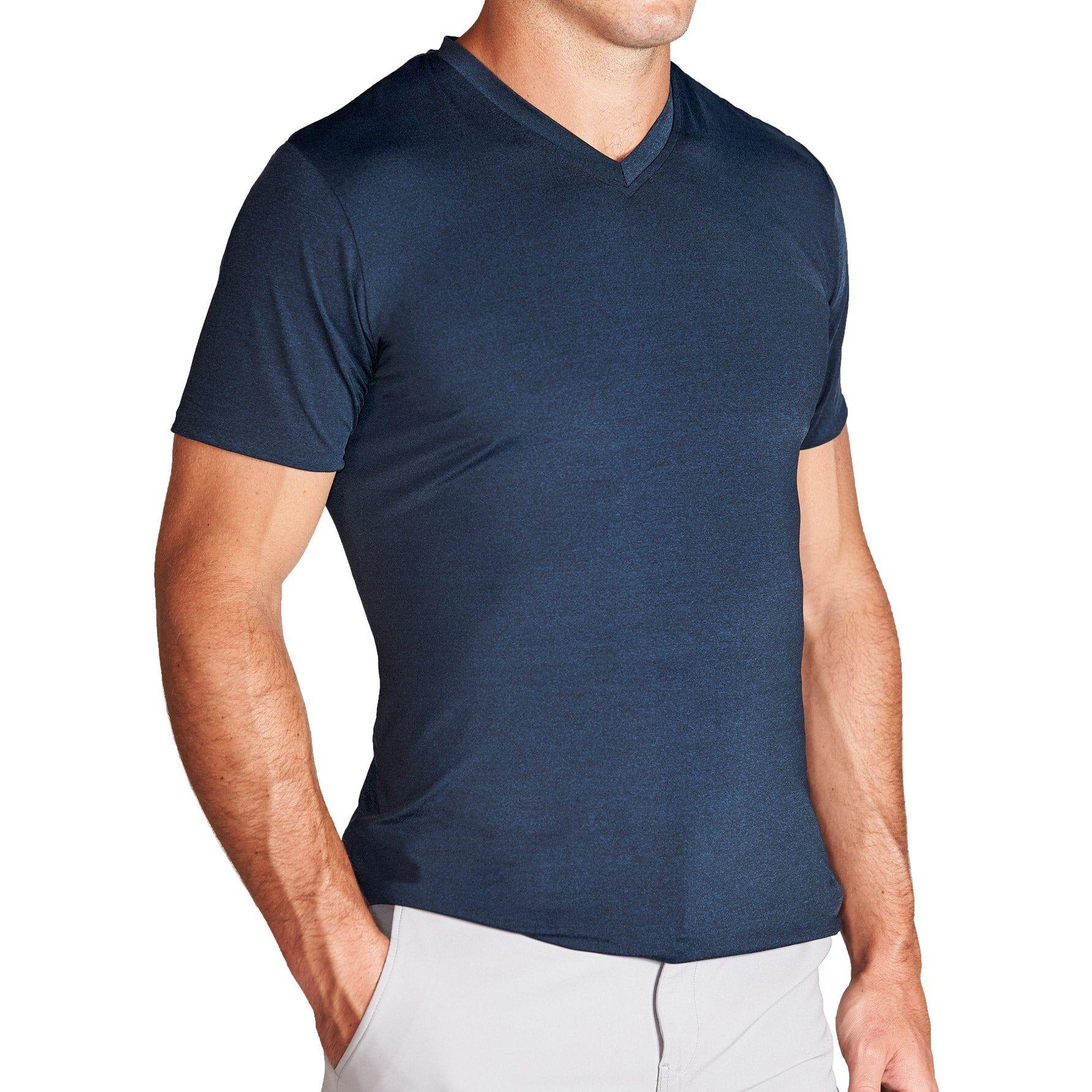 "StateLiberty ""The Houston"" Heathered Deep Navy Tech Short Sleeve V-Neck"