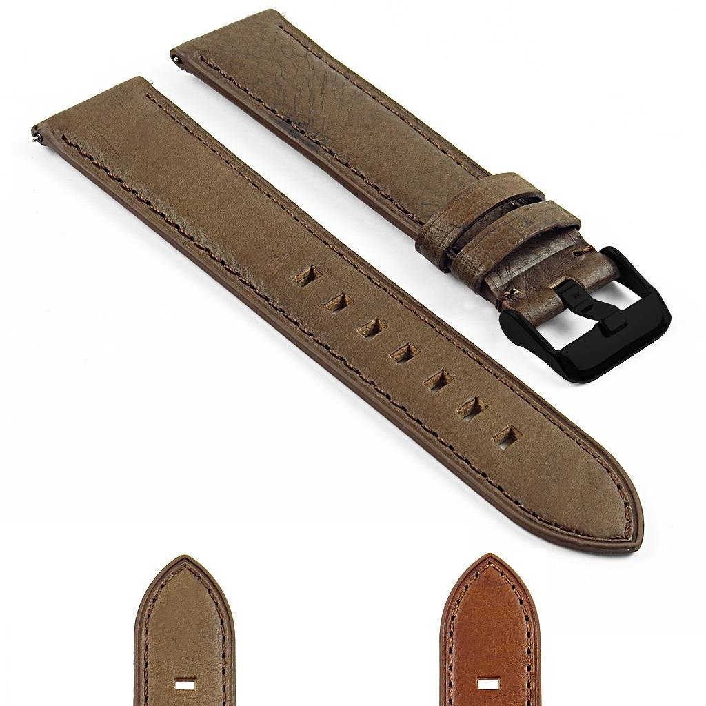 Strapsco DASSARI Vintage Italian Leather Strap for Samsung Gear Sport