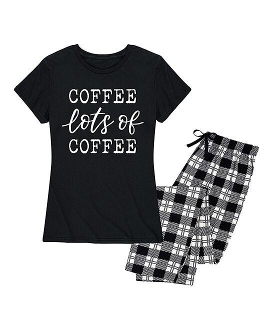 Nap Chat Women's Sleep Bottoms BLACK BLACK - Black & Black Plaid 'Coffee Lots of Coffee' Pajama Set