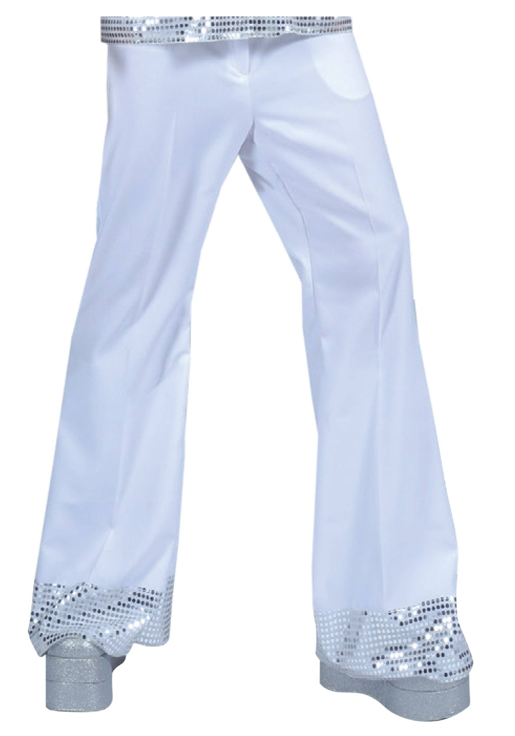 Funny Fashions Men's White Sequin Cuff Disco Pants  - White - Size: Large