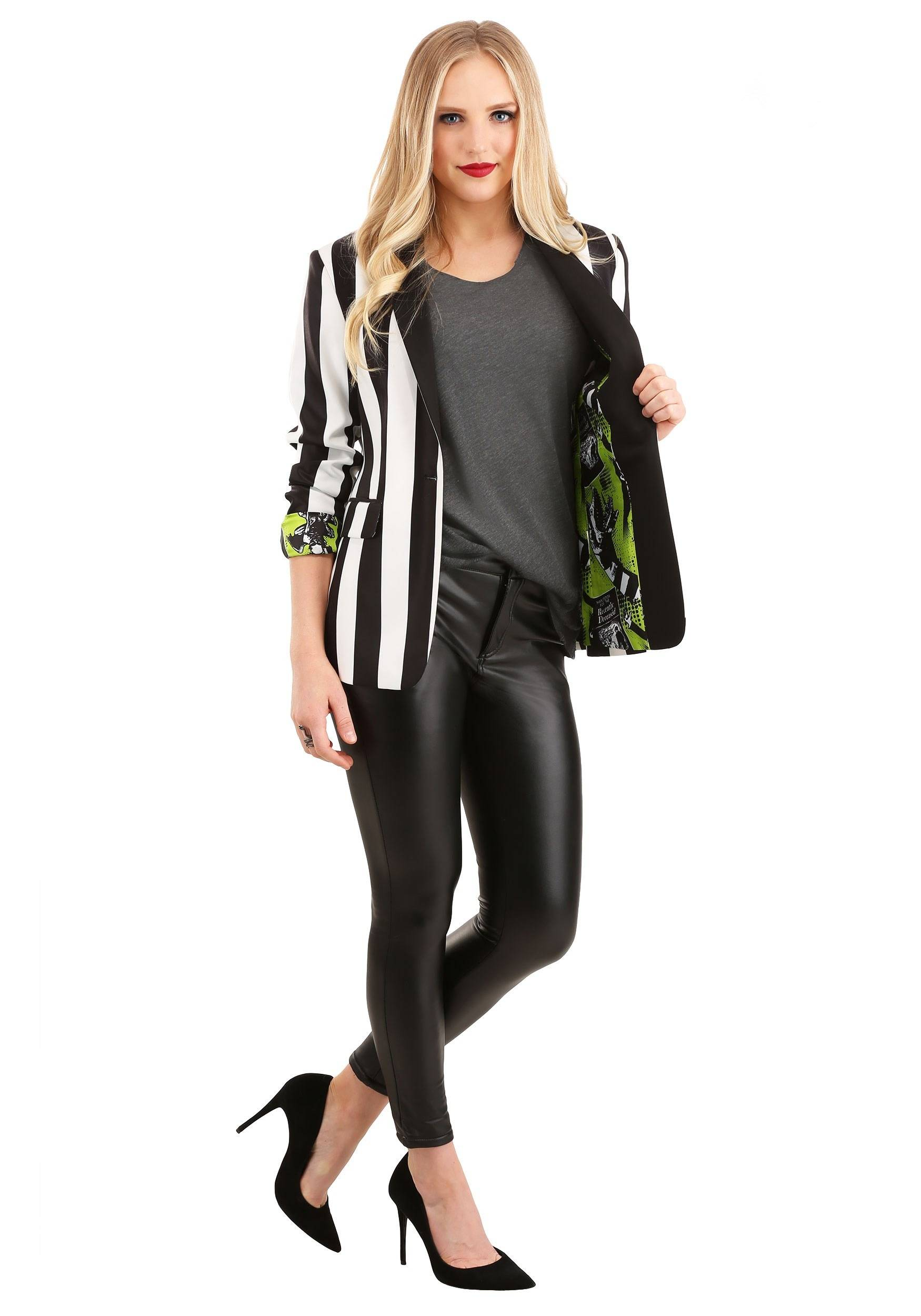 FUN Suits Beetlejuice Suit Blazer for Women   Halloween Clothing  - Black/White - Size: 28