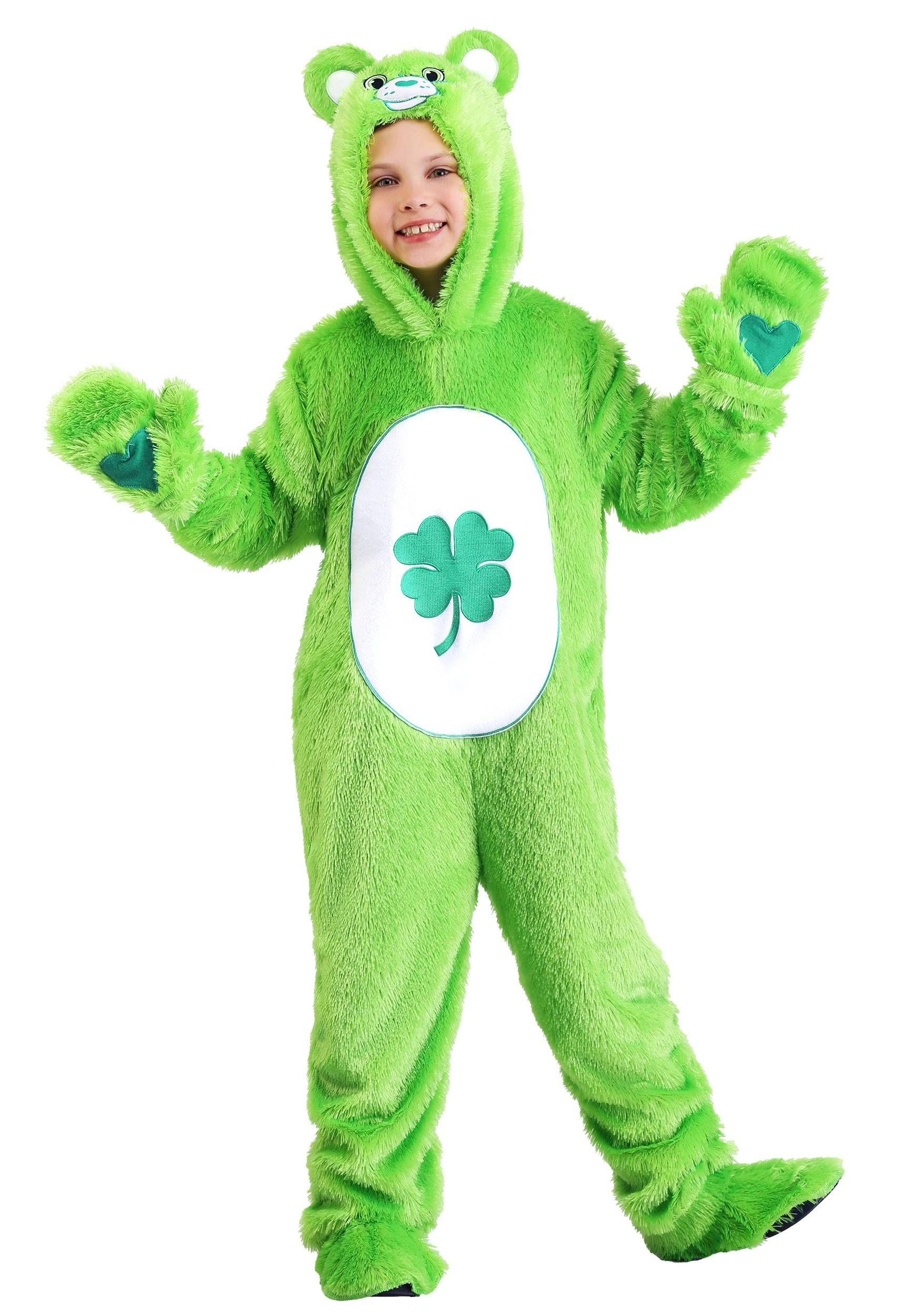 FUN Costumes Kid's Care Bears Classic Good Luck Bear Costume  - Green/White - Size: Small