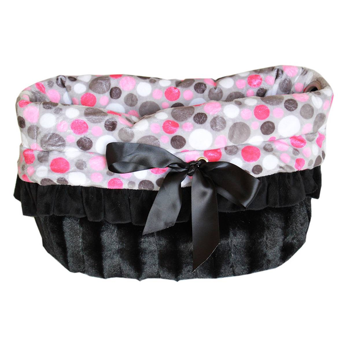 Mirage 500-113 Reversible Snuggle Bugs Pet Bed, Bag & Car Seat, Pink Party Dots - One Size