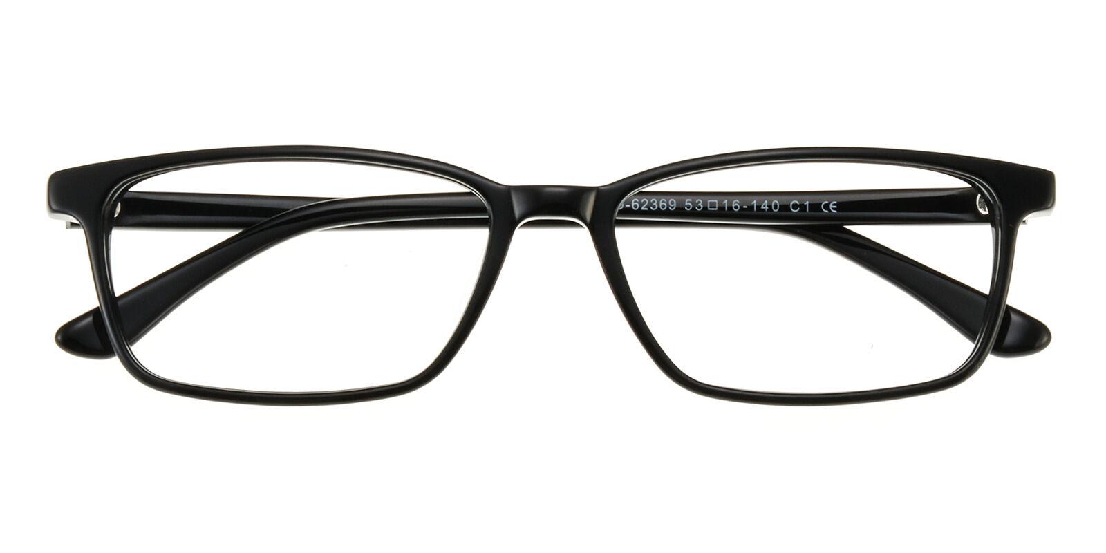 GlassesShop Kid's Rectangle Eyeglasses, Full Frame Plastic Black - FZ1158