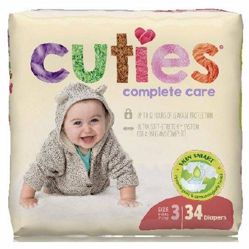 First Quality Unisex Baby Diaper Cuties Complete Care Tab Closure Size 3 Disposable Heavy Absorbency