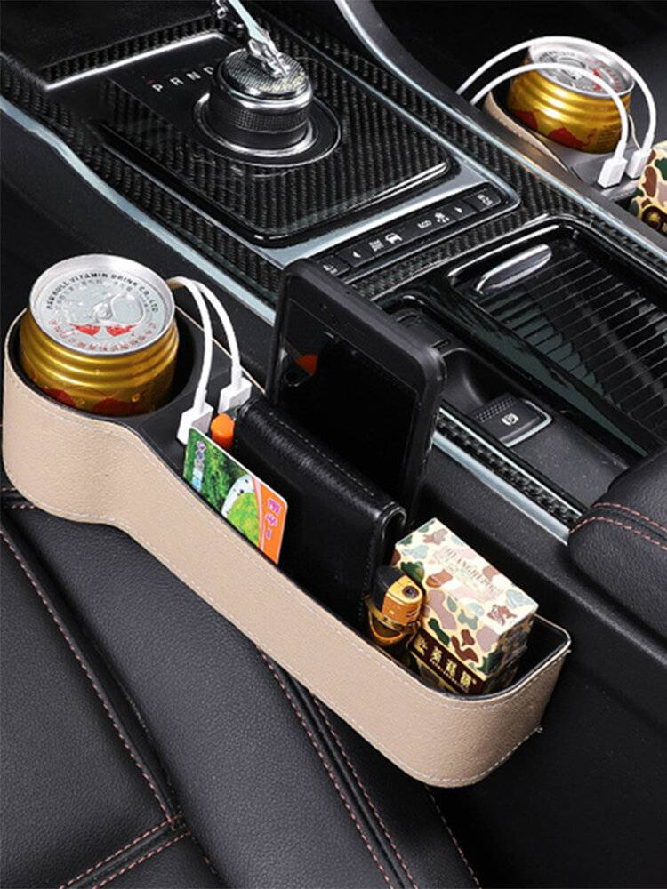 Newchic Car Seat Gap Storage Box USB Charging Storage Box Multi-function Leather Car Water Cup Holde