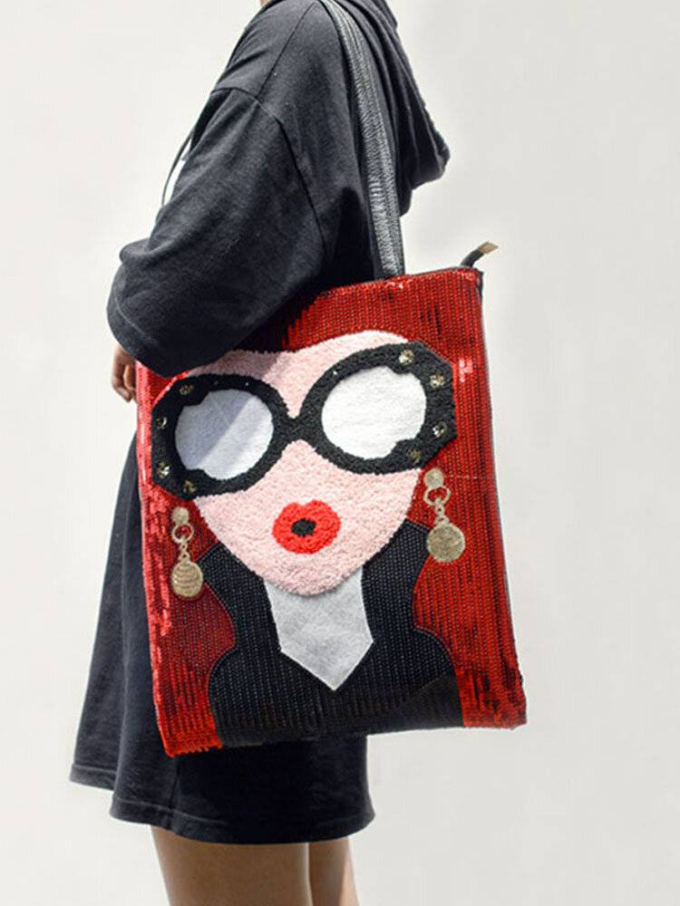 Newchic Women's Fashion Color Sequins Large Capacity Shoulder Bag Tote Bag