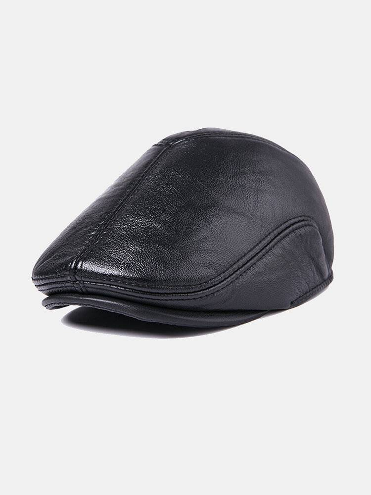 Newchic First Layer Cowhide Leather Hat Men's Fashion Beret Hats