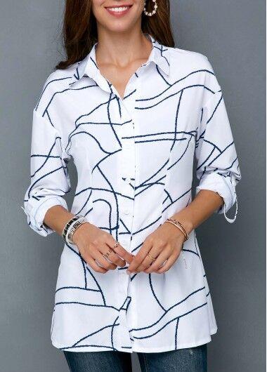 Modlily Women's Womens Clothing Womens T Shirt Geometric Print Button Up Turndown Collar Shirt - XS