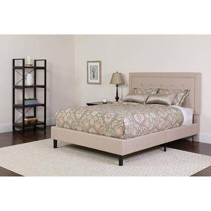 Flash Furniture SL-BMF-20-GG Roxbury King Size Tufted Upholstered Platform Bed in Beige Fabric with