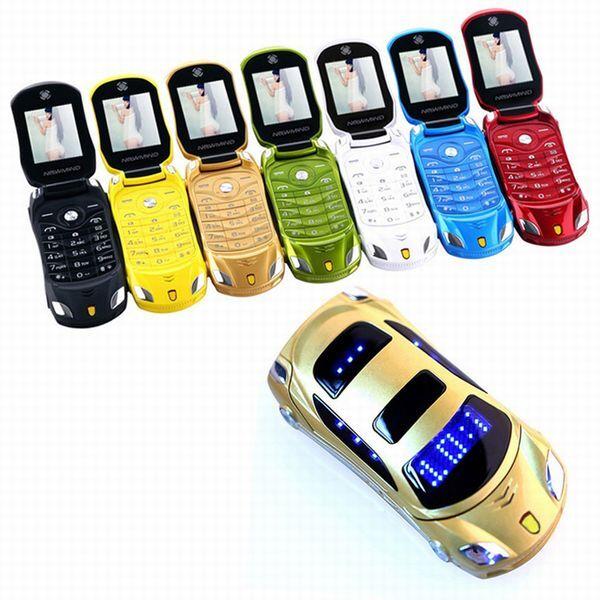 DHgate new unlocked fashion dual sim card cartoon flip mobile phones with led flishlight car key cel