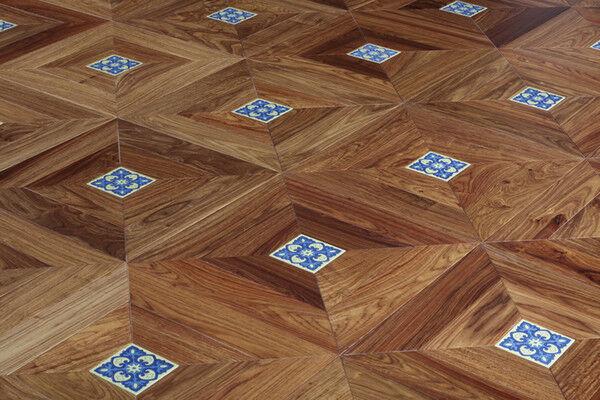 DHgate yellow kosso hardwood flooring designed border ceramic medallion inlay marquetry craft furnit