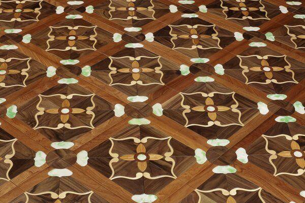 DHgate red jade marble doussie walnut timber flooring parquet tile luxurious villas decor marquetry