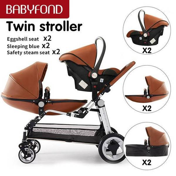 DHgate 12 gifts 0-3 years old high landscape luxury brown leather twin stroller 2020 nwe colour net