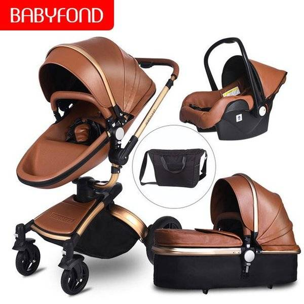 DHgate bbayfond high landscape leather 4 in 1 baby stroller two way suspension stroller eu safety ca