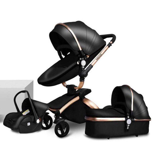 DHgate strollers# brand born pram babyfond 3 in 1 luxury baby stroller pu leather two-way push 360 r