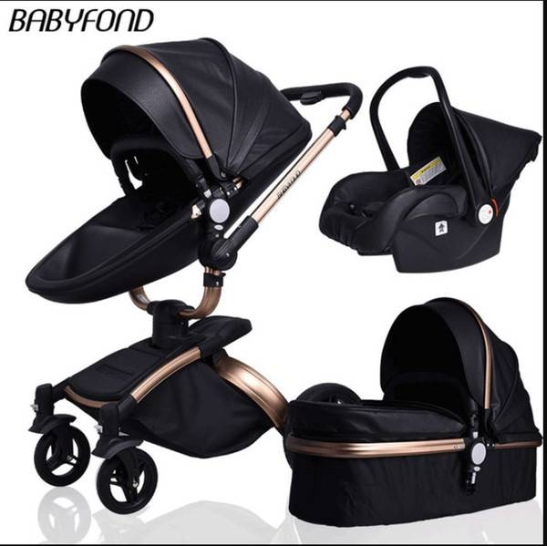 DHgate multi-functional baby stroller 4 in 1 high landscape stroller gold frame pu pram two-way car