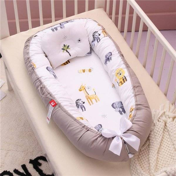 DHgate cotton babynest born baby nest bed portable crib travel lounge bassinet bumper with pillow cu