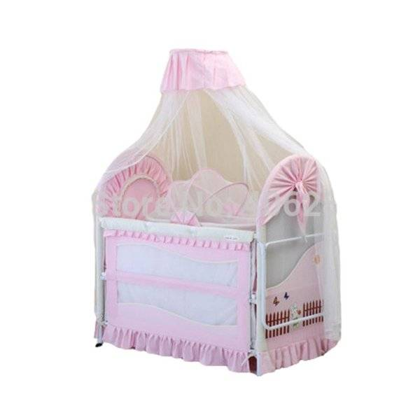 DHgate export baby bed 0~12 years old no smell iron cradle child send 7pcsbaby bedding set cribs