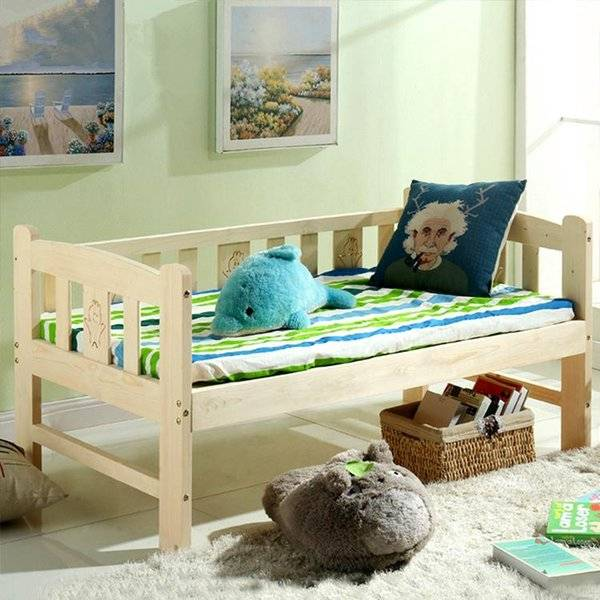 DHgate simple fashion soft children bed solid wood lengthen widen baby crib modern single combine bi