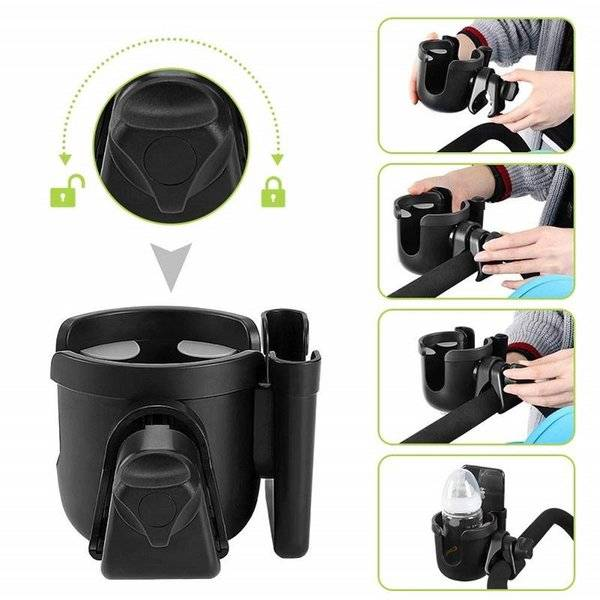 DHgate hooks & rails stroller cup holder milk bottle universal rotation pushchair with silicone gask