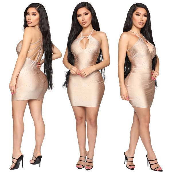 DHgate cross-border special for ebay2019 european and american womens drilling nightclub skirt dress