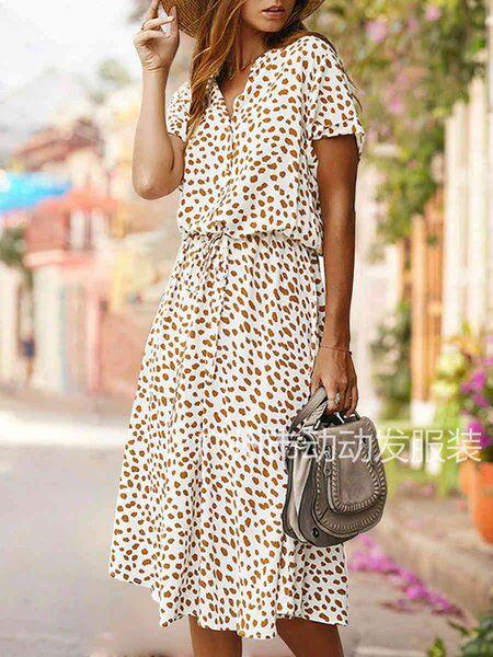 DHgate fashion women's fashion 2020 summer polka dot printed short sleeve dress