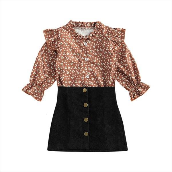 DHgate kids baby girls fashion 2 piece outfit set long sleeve floral print  shirt skirt for children