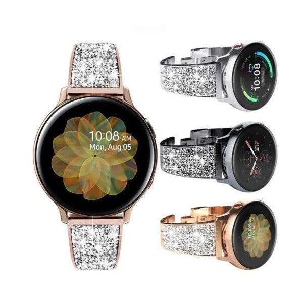 DHgate luxury diamond strap 20 mm for samsung galaxy watch 3 41mm active 1 2 40 44 mm