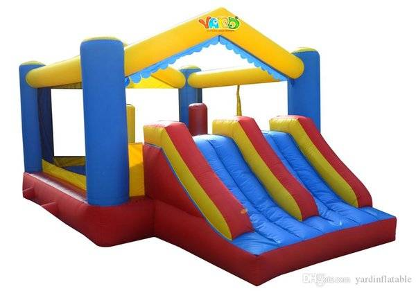 DHgate yard dual slide bounce house inflatable bouncer combo jumper moonwalk bouncy castle residenti