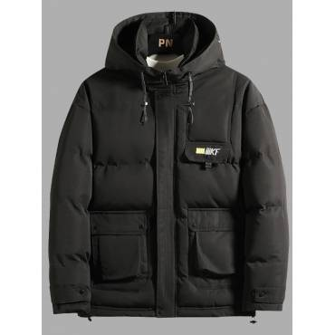 Lovely Casual Mandarin Collar Zipper Design Black Men Cotton-padded Clothe