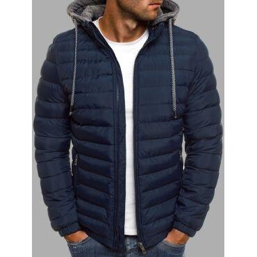 Lovely Casual Hooded Collar Zipper Design Navy Blue Men Cotton-padded Clothe