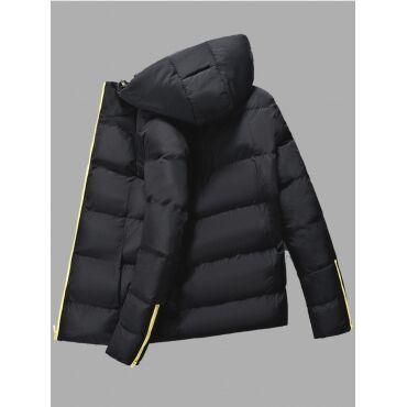 Lovely Trendy Hooded Collar Zipper Design Black Men Cotton-padded Clothe