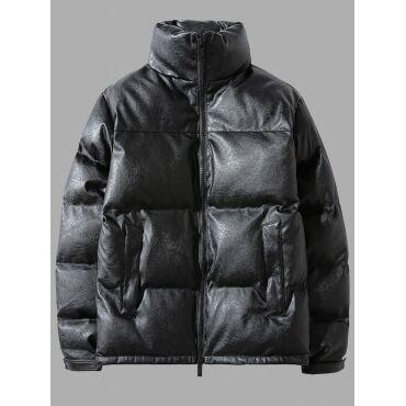 Lovely Trendy Mandarin Collar Zipper Design Black Men Cotton-padded Clothe