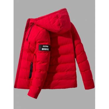 Lovely Casual Hooded Collar Letter Red Men Cotton-padded Clothe