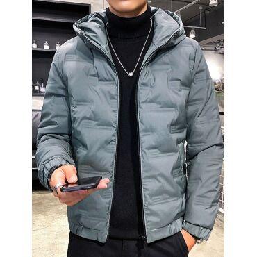 Lovely Leisure Hooded Collar Zipper Design Acid Blue Men Cotton-padded Clothe