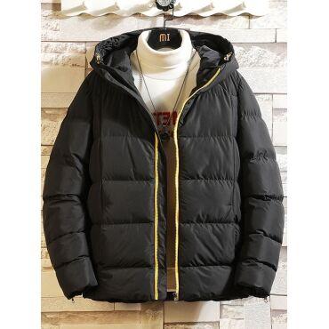 Lovely Casual Hooded Collar Zipper Design Loose Black Men Cottonpadded Clothe