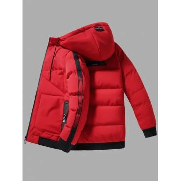 Lovely Casual Hooded Collar Letter Print Red Men Cotton-padded Clothe