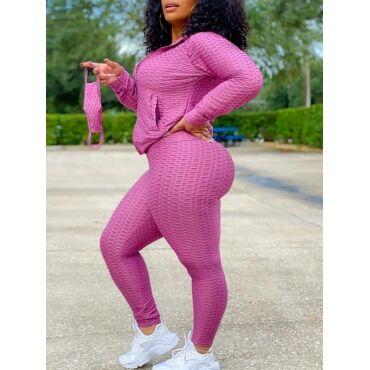 Lovely Sports Turndown Collor Long Sleeve Light Purple Plus Size Two-piece Pants Set