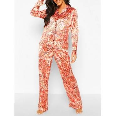 Lovely Home Style Turndown Collar Leopard Print Jacinth Sleepwear