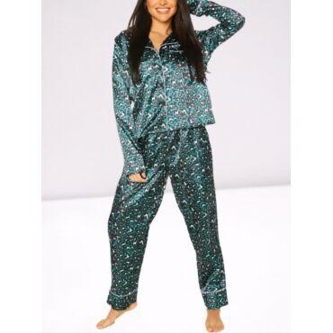 Lovely Home Style Turndown Collar Leopard Print Green Sleepwear