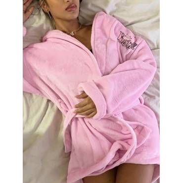 Lovely Home Style Letter Print Lace-up Pink Sleepwear