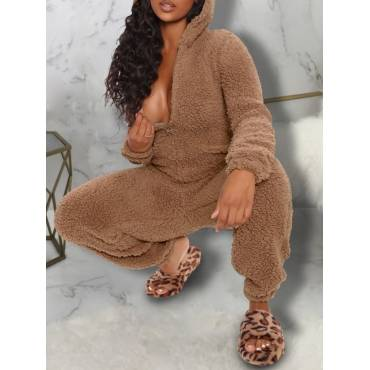 Lovely Home Style Hooded Collar Zipper Design Caramel Plus Size One-piece Jumpsuit