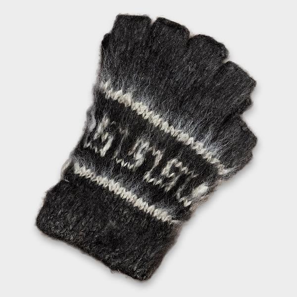 IAT Bolivian Brushed Pattern Fingerless Alpaca Gloves