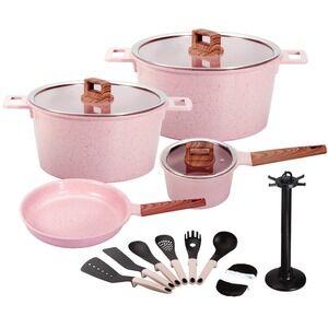 16pcs die casting aluminum ceramic coating induction bottom cookware set home kitchen appliance