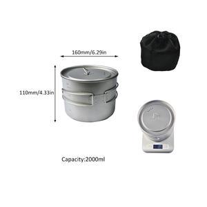 Outdoor 100% titanium portable cookware lightweight camping cooking pots