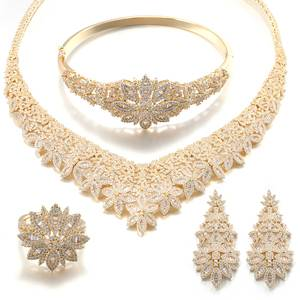 Vantage African Gold Plating Jewelry Set CZ Stone Jewellery Sets for Woman