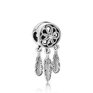 Kailefu Jewellery 925 Sterling Silver Bead Charm Openwork Flower Feather Spiritual Dream Catcher Bead for Pandora Bracelet Diy