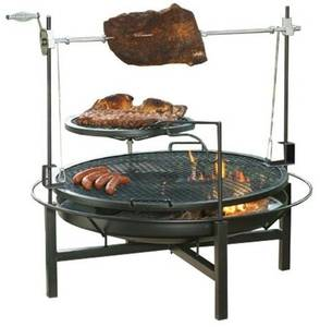 Multifunction Fire Pit Grill Rotary Charcoal Rotating BBQ Rotisserie Grill with 2 layers Cooking Grid