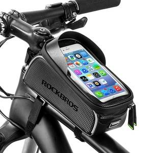 Bike Front Frame Bag Cycling Waterproof Top Tube Frame Pannier Bike Bag For Mobile Phone Touch Screen